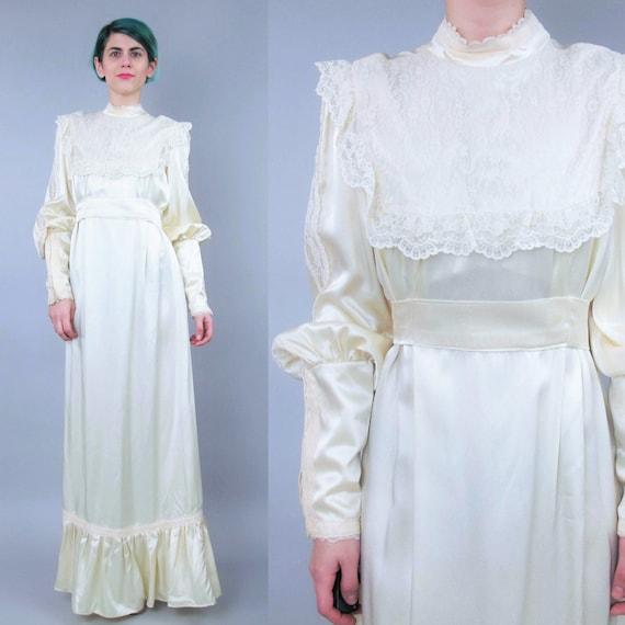 Gunne sax 1970s wedding dress vintage long sleeve wedding gown for Gunne sax wedding dresses