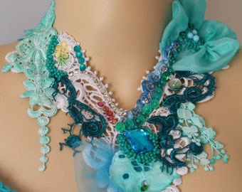 Unique Art to wear Turquoise Romantic Beaded Embroidered Boho Shabby Chic Bib Necklace  - Textile Collage - Tattered -Wearable Art - OOAK