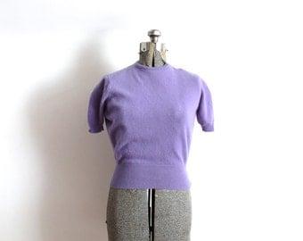 50s Sweater / 1950s 1940s Purple Cashmere Sweater Blouse