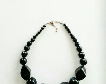 Black Geometric Chunky Bead Statement Necklace