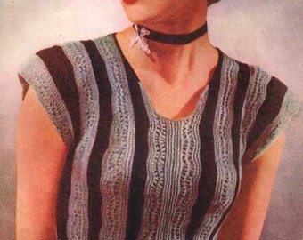 Knitting Pattern - Ladies Peplum Flared Waist Blouse/Top/Vest -  Vintage Style - 34 in bust download