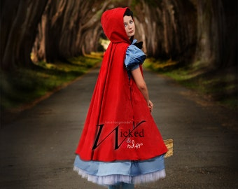 Into the Woods Costume- Little Red Riding Hood Costume Luxe, Luxury Custom Red Riding Hood  for Girls Halloween Costume, Red cape blue dress