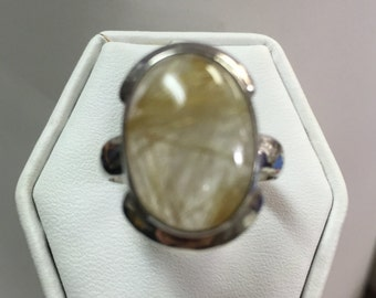 Honey Golden Quartz Ring in Sterling Silver Setting Size 6