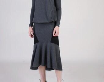 Fishtail Midi Skirt, , Ruffle Hem Skirt, Fit and Flare Skirt, Pencil Skirt, Mermaid Skirt, Jersey Skirt, Pull On Skirt - Gray  with Black