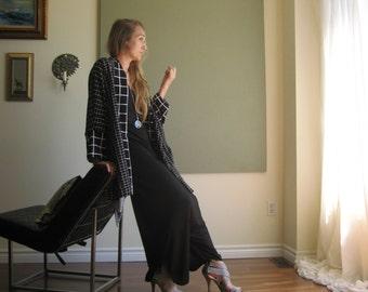 Boho Chic Oversized Cardigan Kimono Sleeve Minimalist Boxy Sweater Ruana Wrap Shawl Collar Soft Lightweight- Black and White XL - 3XL
