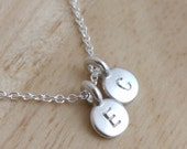 Initial Necklace - Silver Dainty Mom Necklace - Kids Initials - Personalized Necklace - Tiny Initial Necklace Delicate Necklace Push Present