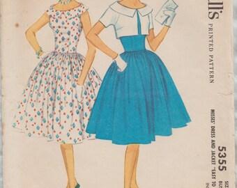 McCalls 5355 / Vintage Sewing Pattern / Dress And Bolero Jacket / Size 12 Bust 32