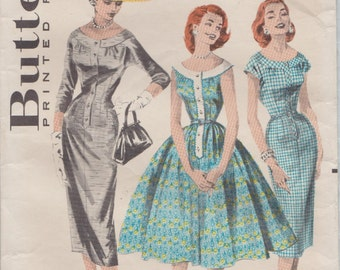 Butterick 8058 / Vintage 50s Sewing Pattern / Dress / Size 14 Bust 34