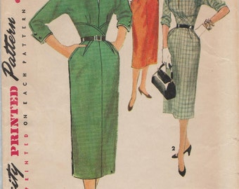 Simplicity 4833 / Vintage 50s Sewing Pattern / Dress / Size 20 Bust 38