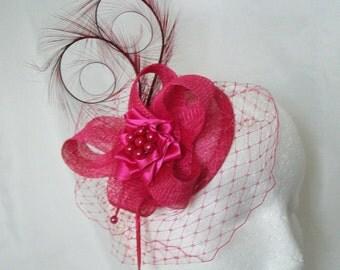 Cerise Fuchsia Pink Blusher Veil Pheasant Curl Feather Sinamay & Pearl Isadora Wedding Fascinator Mini Hat - Made to Order