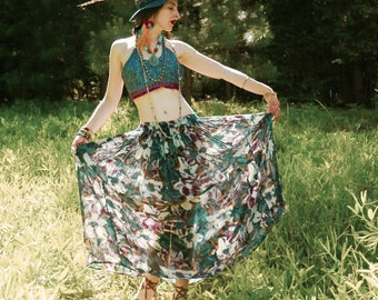 Indian Maxi Skirt... Painterly Patterns... Gypsy Broomstick Skirt