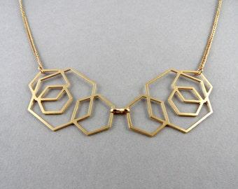 hexagon necklace, geometric necklace, statement jewelry, bib necklace, geometric jewelry