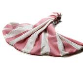 Stretch Head Wrap Pink Stripe Head Scarf Adult Headscarf Stretch Headscarf Jersey Knit Head Wrap Wide Headscarves (#2859) S M L X