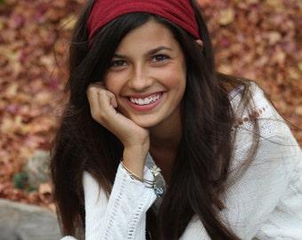 Workout Headscarf, Red Headscarves, Spandex Headband, Dreadlock Headscarves, Dark Red Wide Head Scarf (#2854) S M L