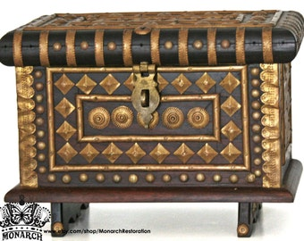 Vintage Wood and Gilded Brass Dresser Box - Exotic Indian Jewelry Casket