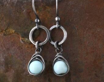 Peruvian Opal Earrings, Blue Sterling Silver, Rustic Bohemian Wire Wrapped Drop Dangle
