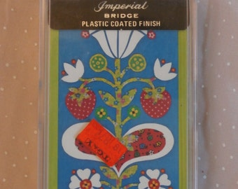 Vintage Bridge Playing Cards, Blue Scandinavian Flower Design, In Case by Western Publishing