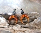 Double Horn Earrings Carved Amber Horn Crescents w Yemini Black Coral w Silver Inlay on Sterling Silver Hooks