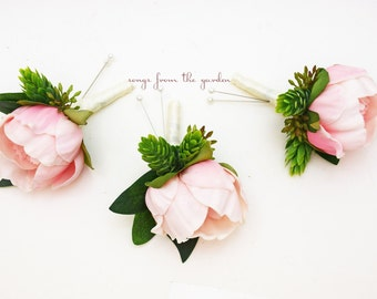 Pink Peony Boutonnieres - Hops and Eucalyptus Accents -  Groom Groomsmen Boutonnieres Prom Homecoming Boutonniere