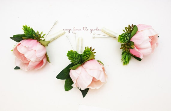 Reserved - Burgundy Peony Boutonnieres and Corsages - Hops and Eucalyptus Accents - Custom Wedding Flower Package