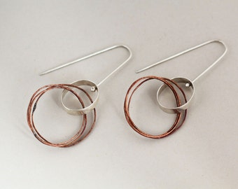 Circles and oval earrings silver copper minimalist rough copper
