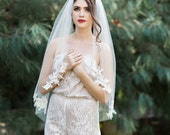 Leni Veil, Ivory Lace Appliques Veil, Chapel Veil, Bridal Veil, Cathedral Veil, Bridal Wedding Veil, Single Layer Veil, Alencon Lace Veil,