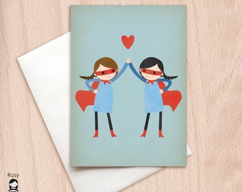 Super High Five - Girls - BFF Valentine, Best Friend, Sisters Greeting Card