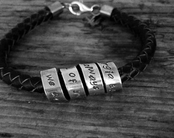 Personalised Leather Bracelet Men with Silver Message Scroll, Great Gift for Wedding Party, Groomsmen, Best Man, Ushers, Father of Bride, UK