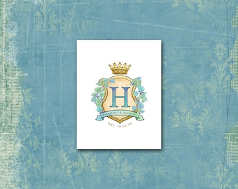 Wedding Crest Monogram Note Cards / Anniversary / 10 Unique Cards / Heraldry Shield Coat of Arms / Blue Green / Crown Banner / Wedding Logo