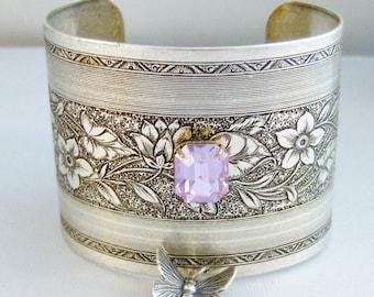 Butterfly Slave Bracelet,Slave Bracelet,Butterfly,Butterfly Bracelet,Silver Bracelet,Cuff,Boho,Hand Bracelet,lavender bracelet,lavender cuff