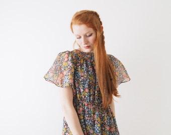 Pipio, spring flower dress, vintage, Tokyo, xs - small