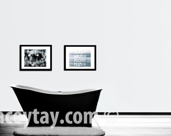 Bathroom Wall Art, Blue White Gray, Powder Room Art, Set of 2 Prints, Modern Bath Wall Decor