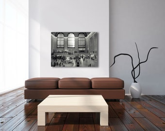 New York City Canvas, Grand Central Station, Black and White New York Photography on Canvas, Large Wall Art Canvas