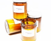Bulk 5 Soy Candles - Lemongrass Citronella Certified Essential Oil Natural Bug Repellent Outdoor Patio in Amber Glass Jar with Silver Lid