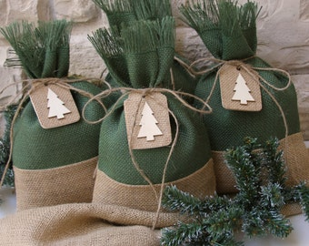 Burlap Gift Bags, Christmas Tree Tags, Set of Four, Shabby Chic Christmas Wrapping, Green and Natural Burlap, Natural Wood Gift Tag,
