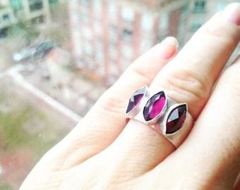 Triple Marquise Rhodolite Garnet Gemstone Statement Ring in Sterling Silver