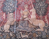 Tapestry, The Lady and the Unicorn, Belgium, wall hanging, medieval, beautiful reproduction, elegant colors, history for your home
