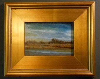 Rain Across the River_Original Oil Painting_Gold Leaf Wood Frame_ Landscape_ Pochade Box Painting_Alla Prima Study_En Plein Air