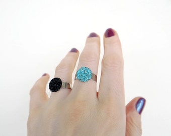 Black Tourmaline Ring, Turquoise Ring, Raw Crushed Stone Ring, Adjustable Ring, Mineral Jewelry
