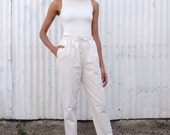 Vintage Cotton Canvas 1980's Ethnic Minimalist High Waisted Cotton Tapered Drawstring Pants M