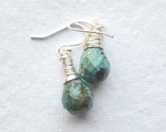 Turquoise Faceted Briolette and Silver Earrings