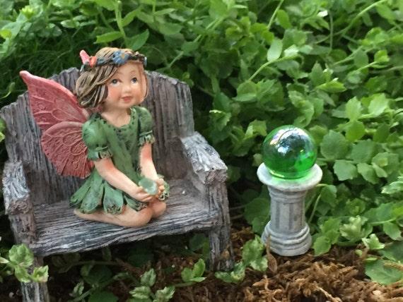 Miniature Green Gazing Ball, Fairy Garden Accessory, Miniature Garden Decor, Topper