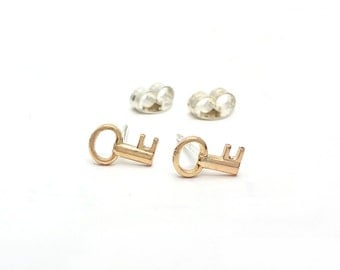 Little Key Brass Sterling Silver Post Earrings - LanaBetty