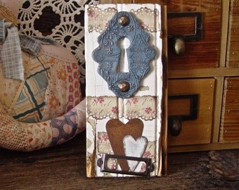 Shabby Floral Romantic Country Cottage Antique Architectural Salvage Wall Art Rustic Assemblage Vintage Keyhole Heart Decor, Love Gift Her