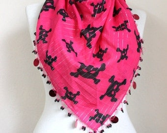 SKULL SCARF / Pink scarf / cotton scarf / triangle scarf / beaded scarf /