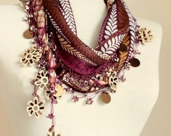 turkish scarves - Oya Scarf- scarf fashion - floral scarf - scarf accessories - women cotton scarves
