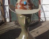 Vintage 100% Fur Felt FAST EDDIE'S Western Cowboy Hat w/Turquoise & Feather Band Hat - 6 3/4