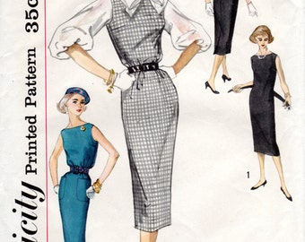 1950s Slim Sheath Dress with Low V Back and Blouse - Vintage Pattern Simplicity 2390 - Bust 34
