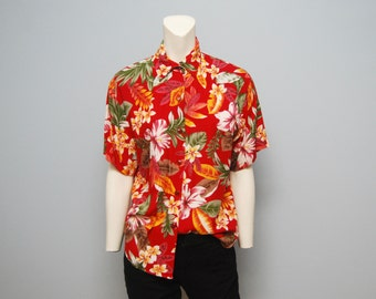 1990's Red Hawaiian Shirt - Women's size 12 - Jaclyn Sport