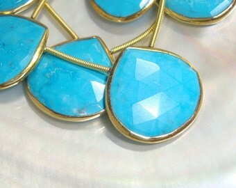Blue Turquoise Faceted Heart Briolette Vermeil Sterling Silver Bezel Rim Connector Pendant, 19-20mm, Full strand - 8 pcs